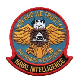 "MidMil Embroidered Naval Intelligence Patch with Emblem and Motto 3.7"" wide x 3.9"" high"