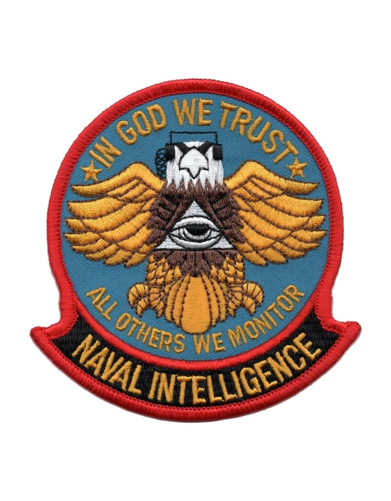 """MidMil Embroidered Naval Intelligence Patch with Emblem and Motto """"In God We Trust-All Others We Monitor"""" 3.7"""" wide x 3.9"""" high"""