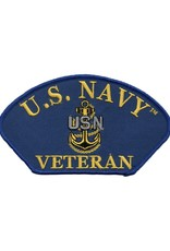 "MidMil Embroidered U.S. Navy Veteran Patch with Fouled Anchor 5.2"" wide x 3"" high Royal Blue"