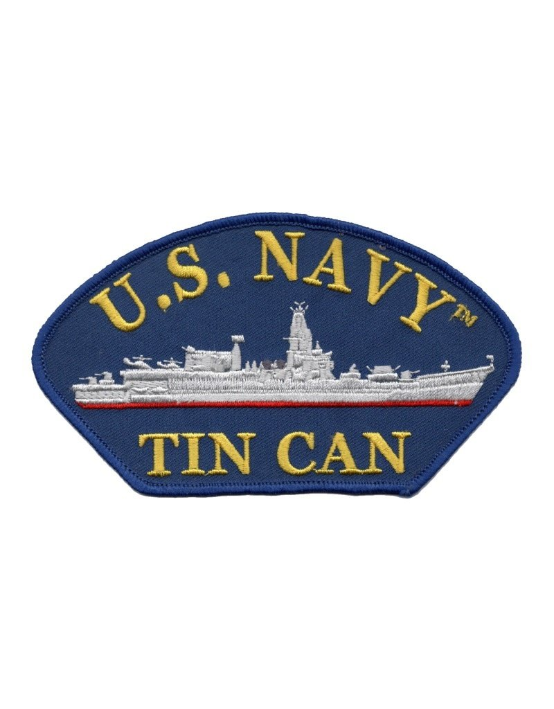 """MidMil Embroidered U.S. Navy Tin Can Patch with Ship Profile 5.2"""" wide x 2.8"""" high Blue"""