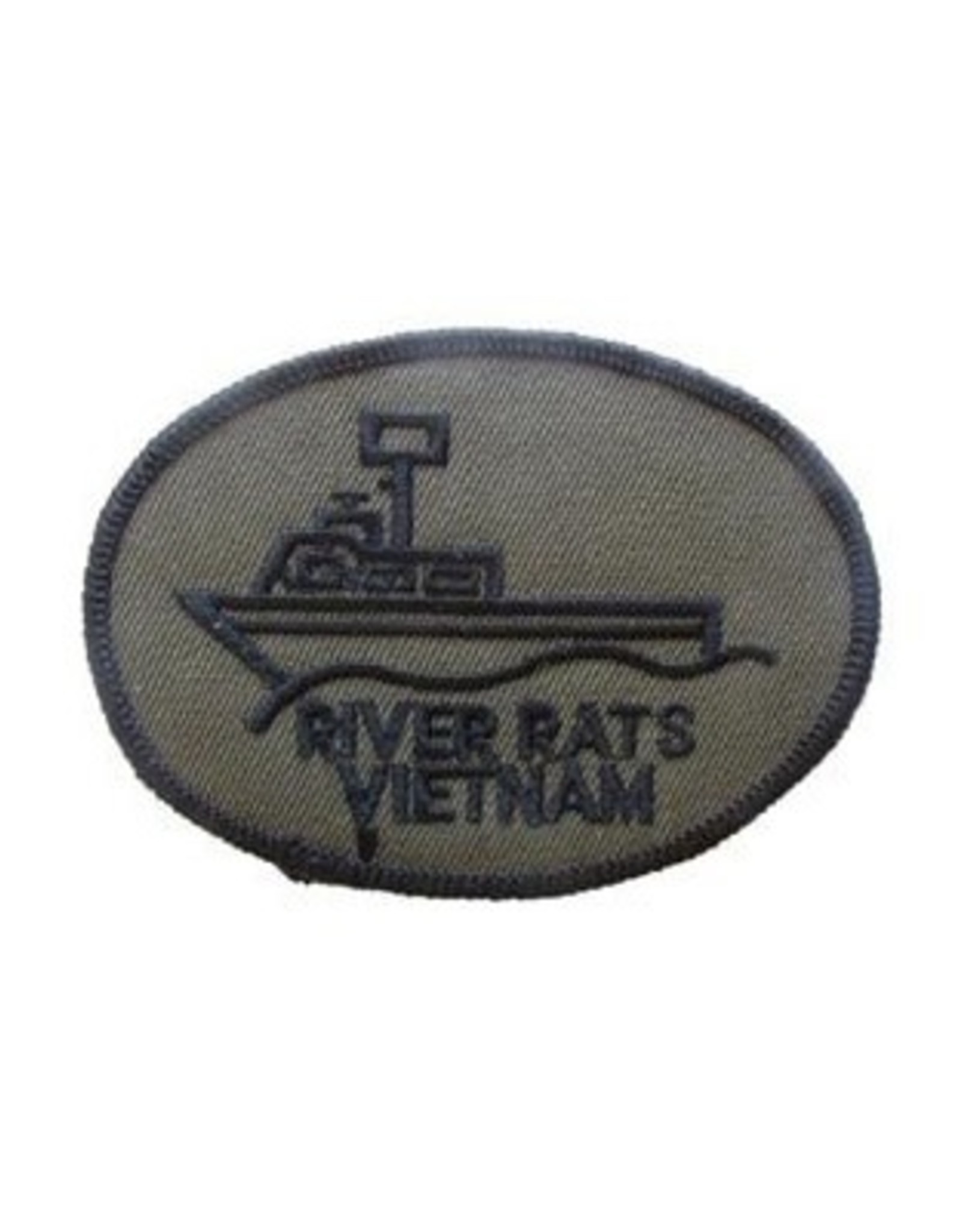 """MidMil Embroidered Navy River Rats Vietnam Patch 3.5"""" wide x 2.4"""" high Olive Drab"""