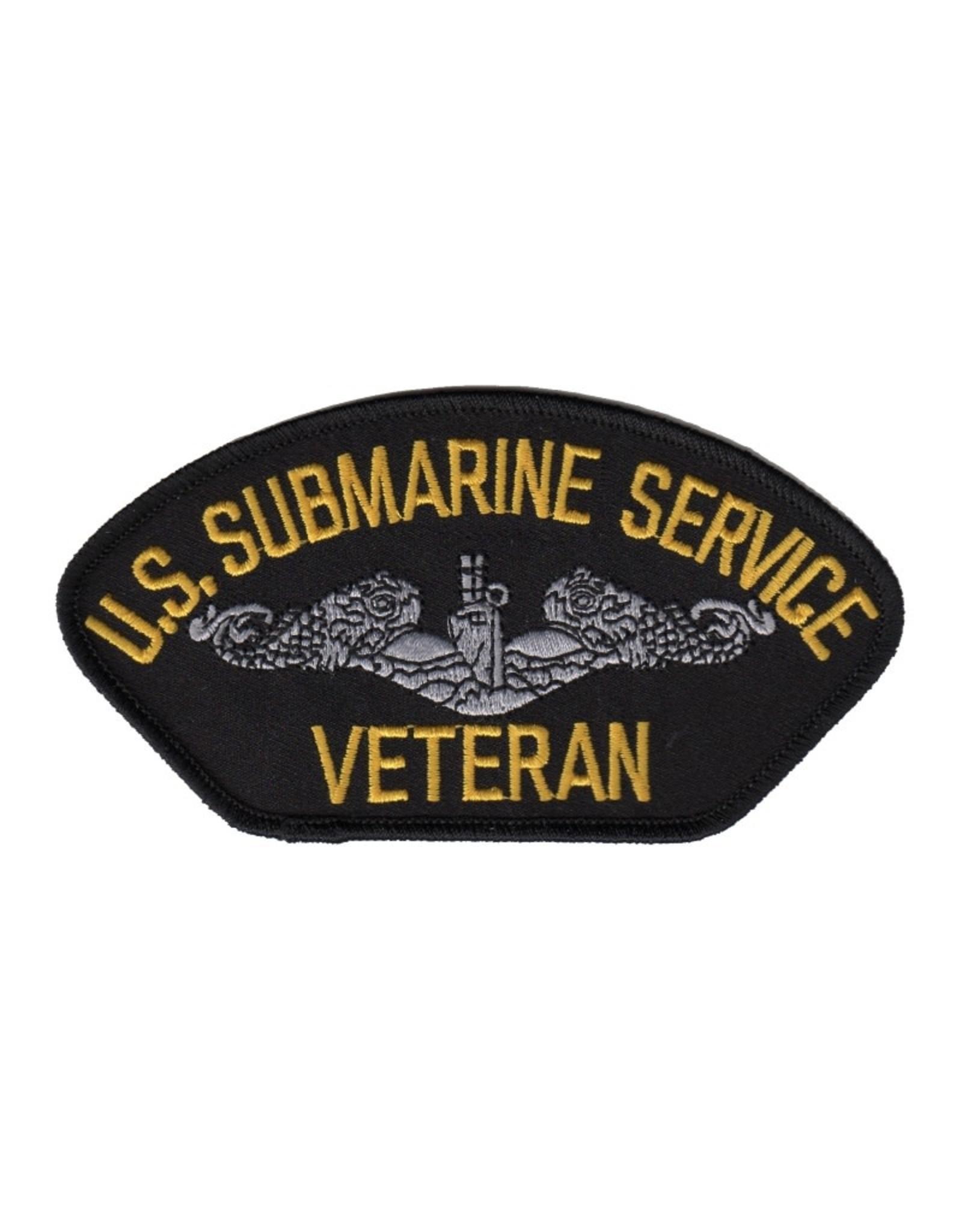 """MidMil Embroidered U.S. Submarine Service Veteran 5.2"""" wide x 2.8"""" high Dark Blue"""