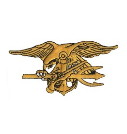 """MidMil Embroidered Navy Seals Trident cut-out Patch 4"""" wide x 2"""" high"""