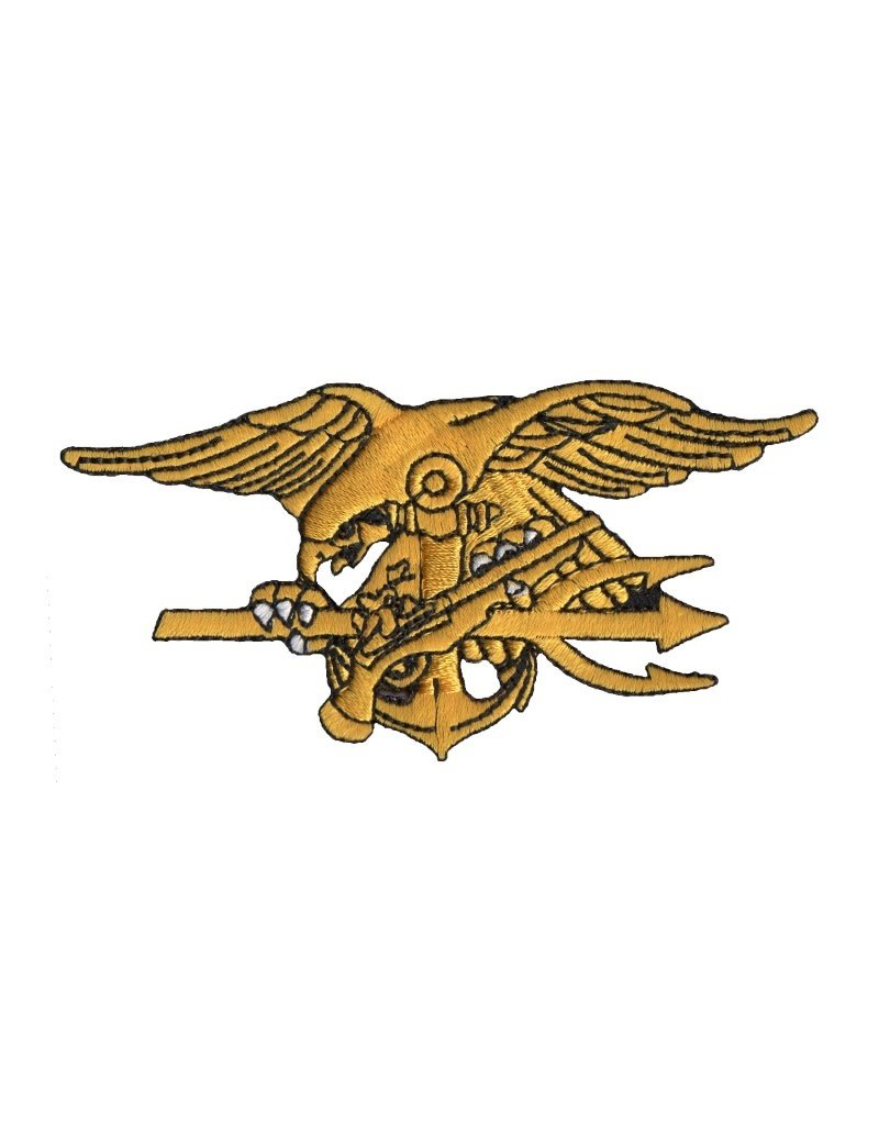 "MidMil Embroidered Navy Seals Trident cut-out Patch 4"" wide x 2"" high"