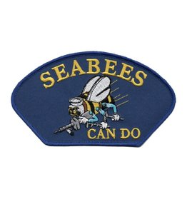 "MidMil Embroidered Seabees Can Do Patch with Emblem 5.2"" wide x 2.8"" high Royal Blue"
