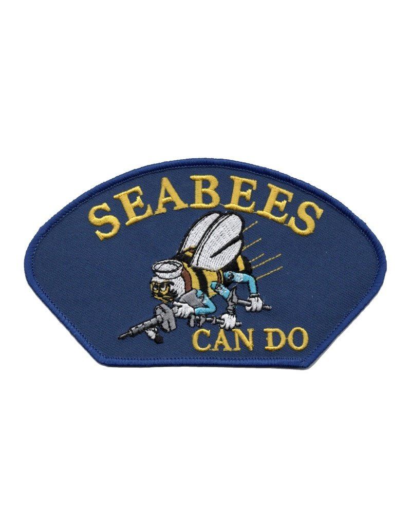 """MidMil Embroidered Seabees Can Do Patch with Emblem 5.2"""" wide x 2.8"""" high Royal Blue"""
