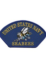 "MidMil Embroidered United States Navy Seabees Patch with Emblem 5.2"" wide x 2.8"" high Royal Blue"