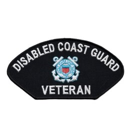 """MidMil Embroidered Disabled Coast Guard Veteran Patch 6"""" wide x 3.1"""" high Black"""