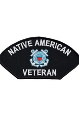 "MidMil Embroidered Coast Guard Native American Veteran Patch with Emblem 6"" wide x 3.1"" high Black"