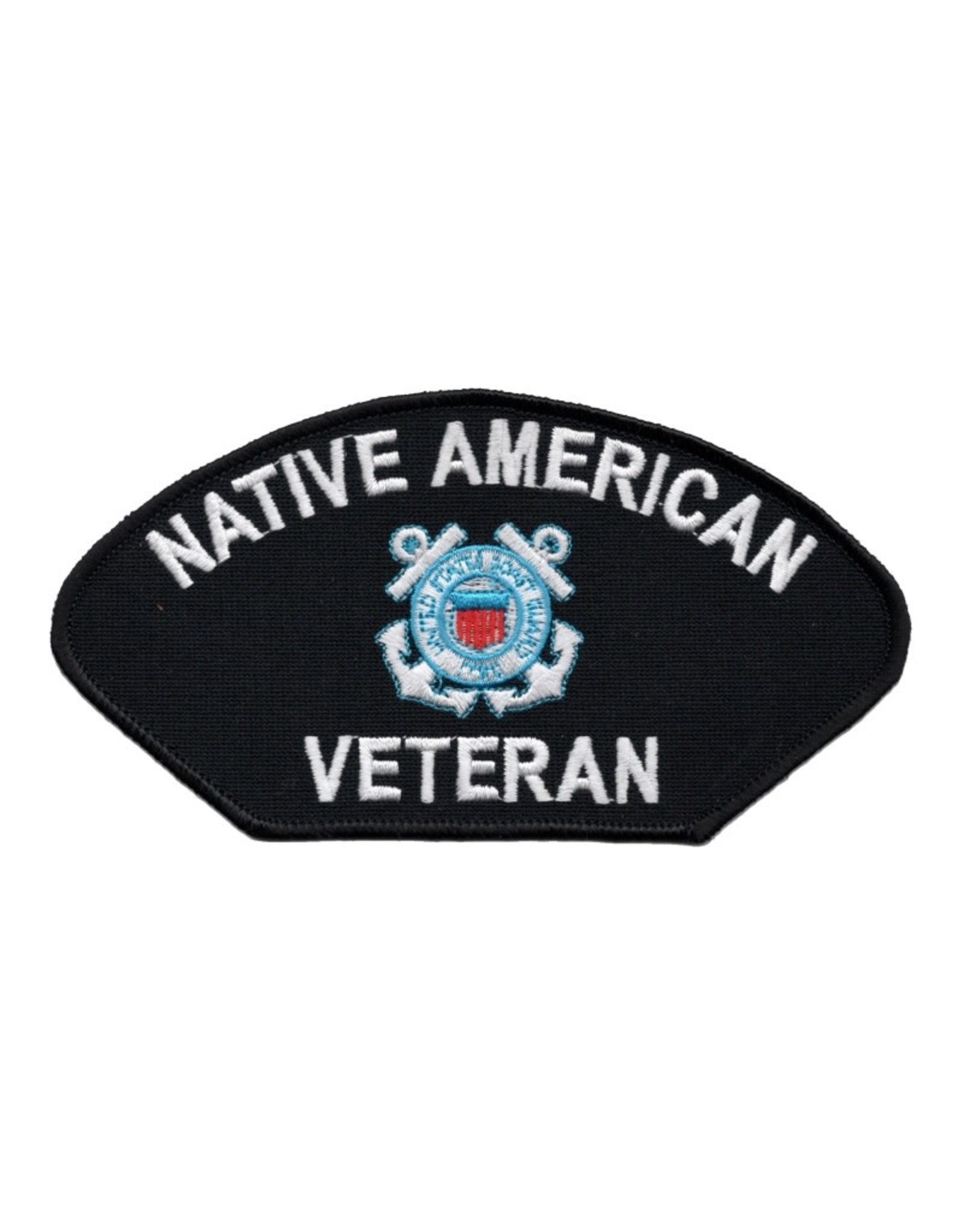 """MidMil Embroidered Coast Guard Native American Veteran Patch with Emblem 6"""" wide x 3.1"""" high Black"""