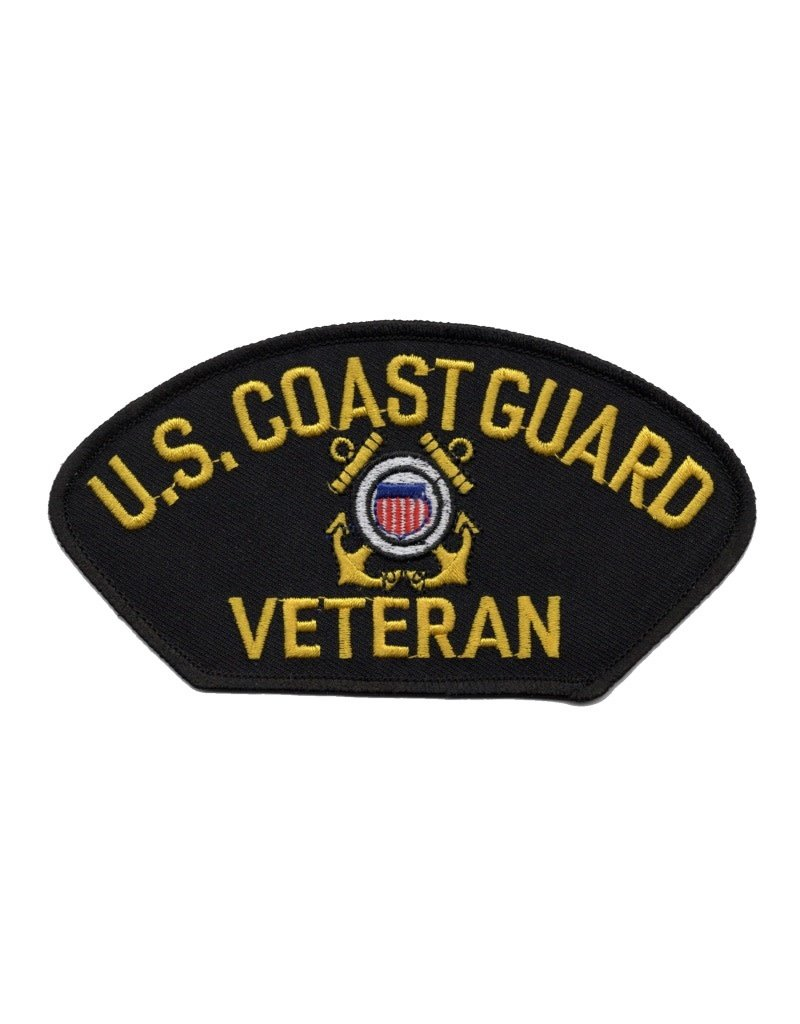 "MidMil Embroidered U.S. Coast Guard Veteran Patch with Emblem 5.2"" wide x 2.8"" high Black"