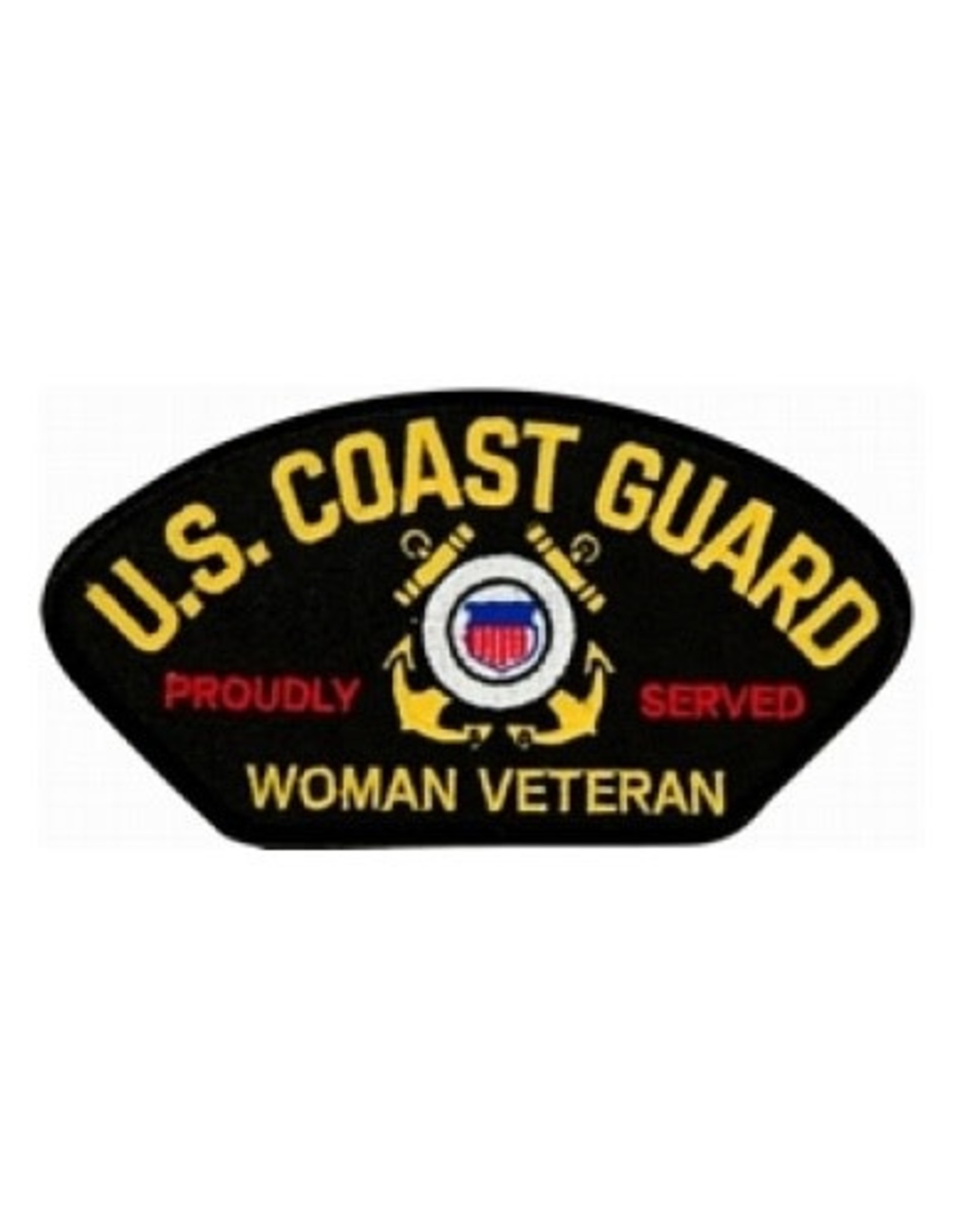 """MidMil Embroidered Coast Guard Proudly Served Woman Veteran Patch 5.2"""" wide x 2.8"""" high Black"""