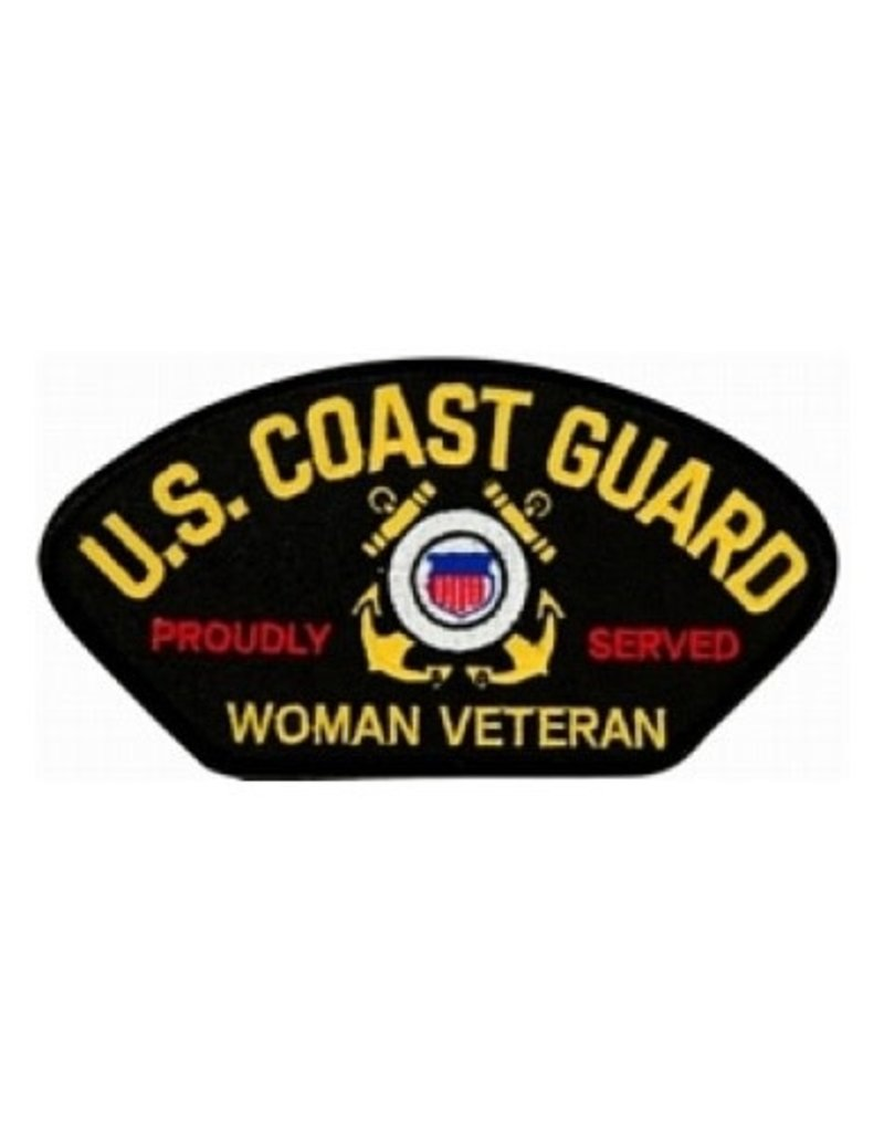 "MidMil Embroidered Coast Guard Proudly Served Woman Veteran Patch 5.2"" wide x 2.8"" high Black"