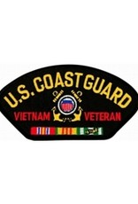 "MidMil Embroidered U.S. Coast Guard Vietnam Veteran 5.2"" wide x 2.8"" high Black"