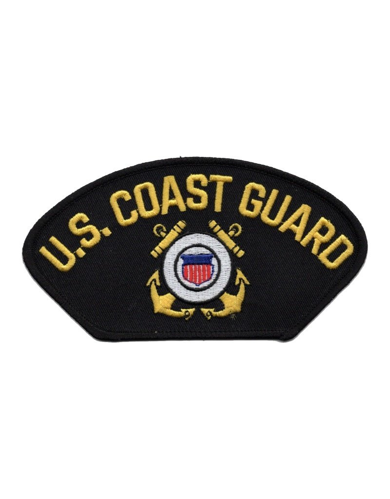 """MidMil Embroidered U.S. Coast Guard Patch with Emblem 5.2"""" wide x 2.8"""" high Black"""