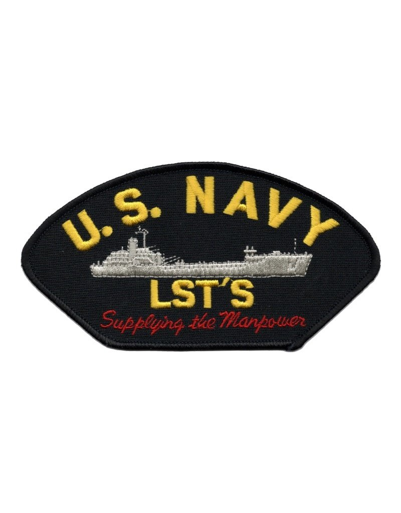 "MidMil Embroidered U.S. Navy LST'S Patch with Profile and Motto ""Supplying the Manpower"" 6"" wide x 3.1"" high Black"