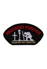 "MidMil Embroidered POW*MIA Brothers Forever ""Fallen but not Forgotten"" Patch 5.1"" wide x 2.8"" high Black"