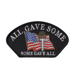 "MidMil Embroidered POW*MIA All Gave Some - Some Gave All Patch with Flag and Cross 5.4"" wide x 3.1"" high Black"