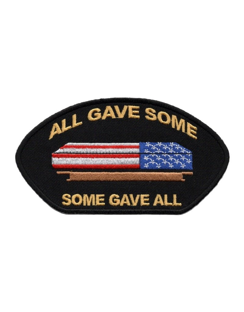 "MidMil Embroidered All Gave Some Some Gave All Patch with Flag Draped Casket 5"" wide x 2.7"" high Black"