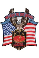 "MidMil KIA - America Remembers - We Leave No One Behind Patch with Eagle and Flag 3.5"" wide x 3.8"" high"