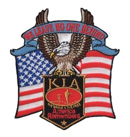 "MidMil Embroidered KIA - America Remembers - We Leave No One Behind Patch with Eagle and Flag 3.5"" wide x 3.8"" high"