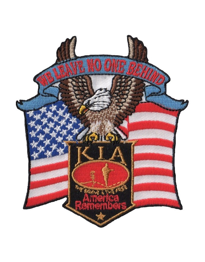 """MidMil Embroidered KIA - America Remembers - We Leave No One Behind Patch with Eagle and Flag 3.5"""" wide x 3.8"""" high"""