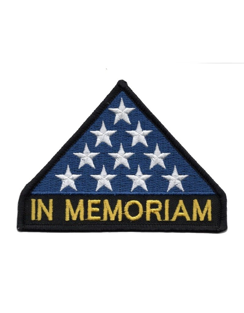 "MidMil Embroidered In Memoriam Patch with Folded Flag 4.2"" wide x 3"" high"