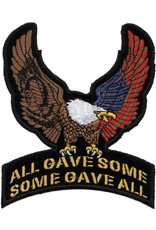 "MidMil  Eagle with POW*MIA & American Flag on All Gave Some  Some Gave All Patch 4"" wide x 5"" high"