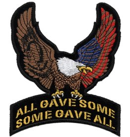 "MidMil Embroidered Eagle with POW*MIA & American Flag on All Gave Some  Some Gave All Patch 4"" wide x 5"" high"