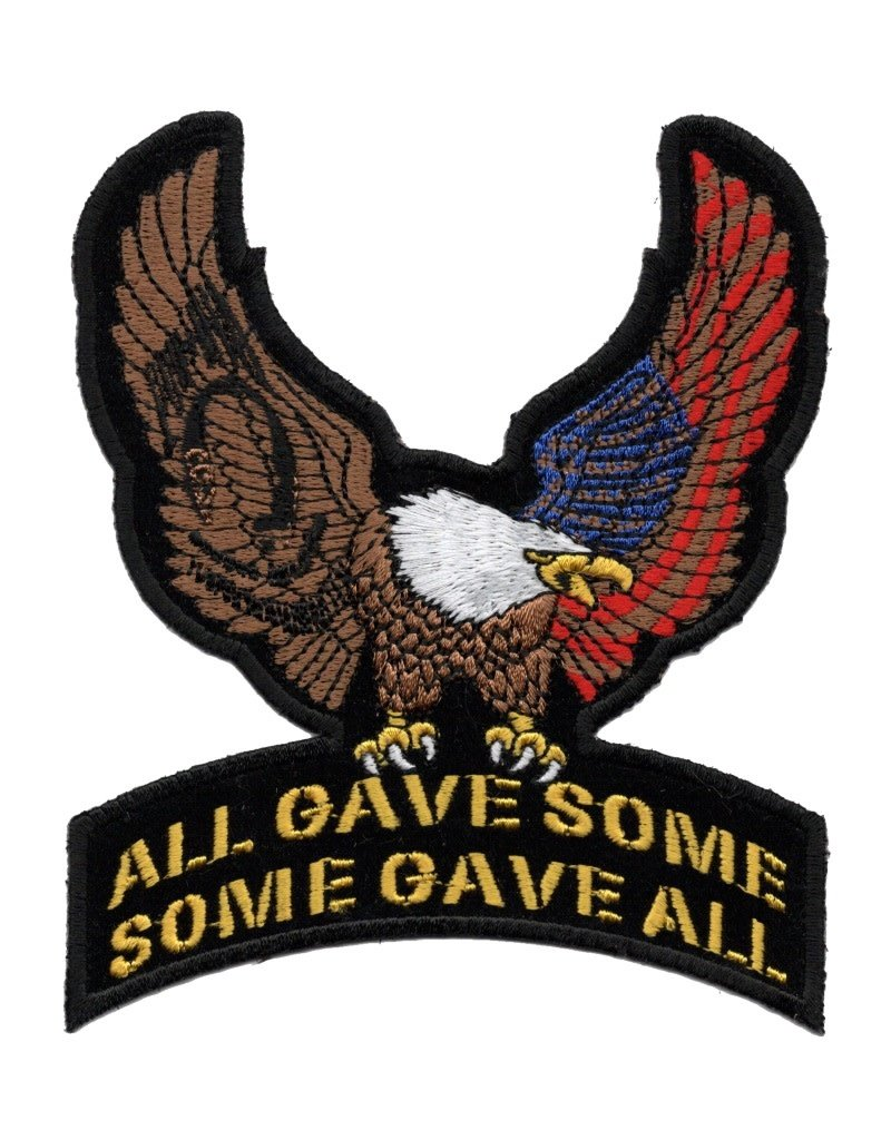 """MidMil Embroidered Eagle with POW*MIA & American Flag on All Gave Some  Some Gave All Patch 4"""" wide x 5"""" high"""