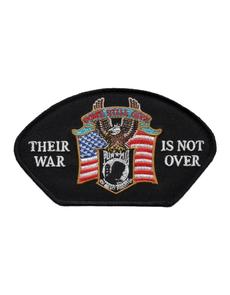 "MidMil Embroidered POW*MIA Eagle Above on American Flag Patch with Motto ""Their War is not Over"" 5.2"" wide x 3"" high Black"