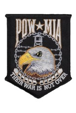 """MidMil POW*MIA """"Their War is not Over"""" Eagle Head Patch 3.4"""" wide x 4.3"""" high Black"""
