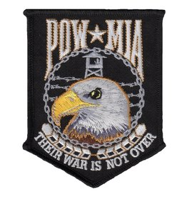 "MidMil Embroidered POW*MIA ""Their War is not Over"" Eagle Head Patch 3.4"" wide x 4.3"" high Black"