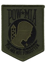 "MidMil Embroidered POW*MIA  Subdued Patch 3.4"" wide x 4.3"" high Olive Drab"