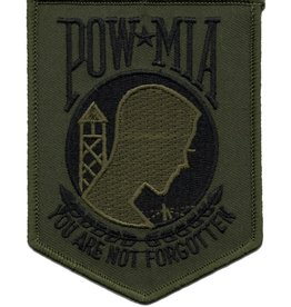 "MidMil POW*MIA  Subdued Patch 3.4"" wide x 4.3"" high Olive Drab"