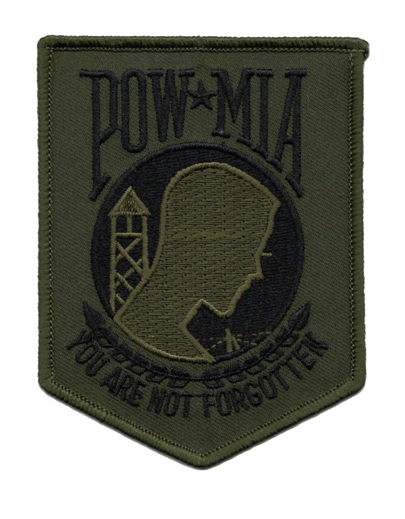"""MidMil Embroidered POW*MIA  Subdued Patch 3.4"""" wide x 4.3"""" high Olive Drab"""