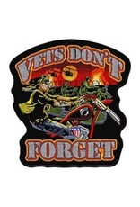 """MidMil Vets Don't Forget Biker Patch with War in the Background 11.5 wide x 12"""" high"""