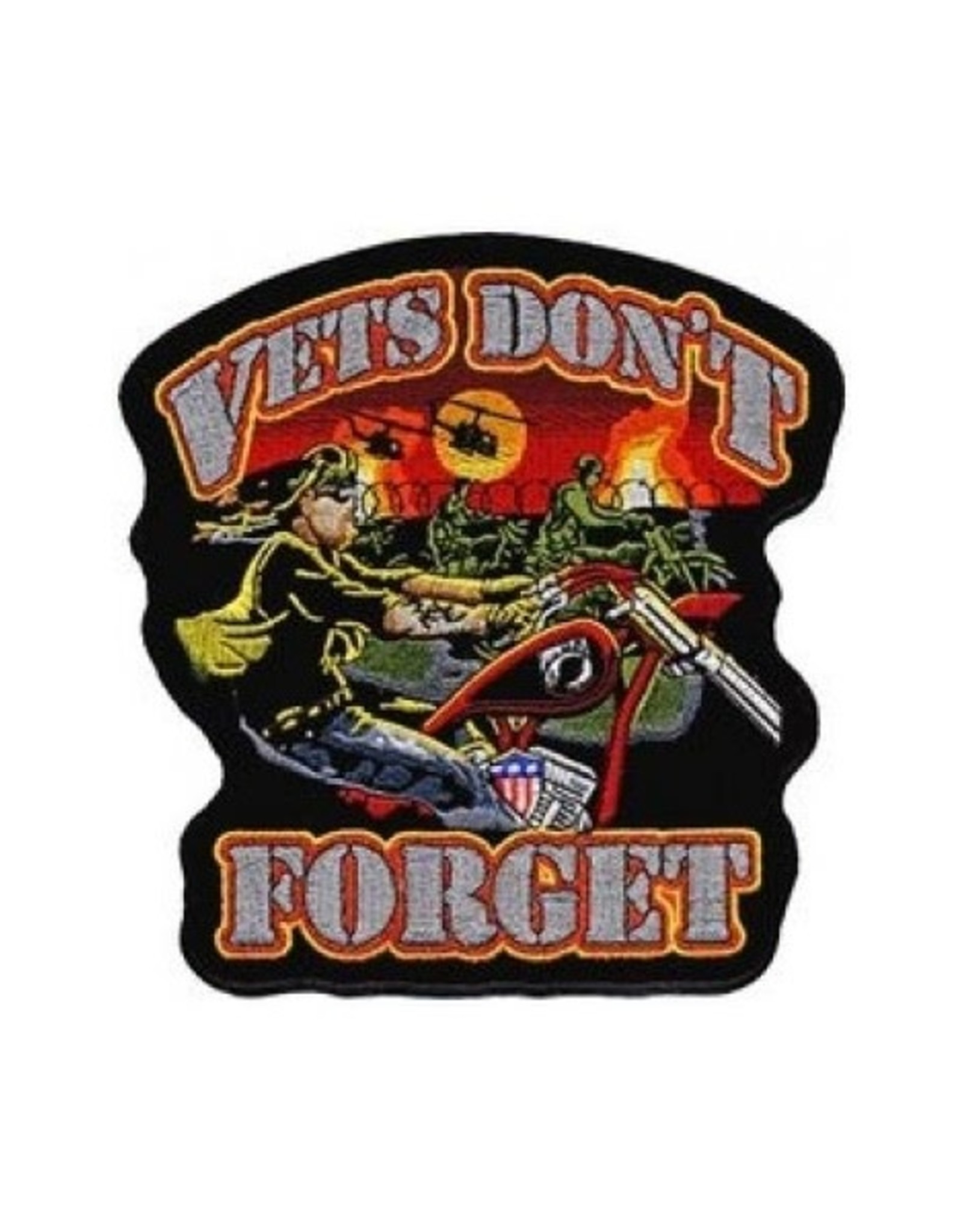 """MidMil Embroidered Vets Don't Forget Biker Patch with War in the Background 11.5 wide x 12"""" high"""