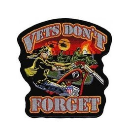 "MidMil Vets Don't Forget Biker Patch with War in the Background 11.5 wide x 12"" high"