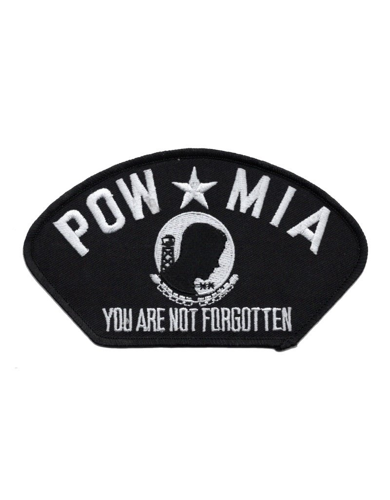 """MidMil Embroidered POW*MIA You Are Not Forgotten Patch 5.2"""" wide x 2.9"""" high Black"""