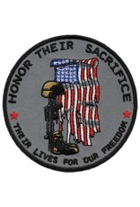 "MidMil Embroidered Honor Their Sacrifice  Patch with Tattered Flag, Soldiers Cross, and  ""Their Lives for Our Freedom"" 3.5"""
