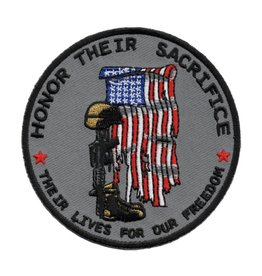 "MidMil Honor Their Sacrifice  Patch with Tattered Flag, Soldiers Cross, and  ""Their Lives for Our Freedom"" 3.5"""