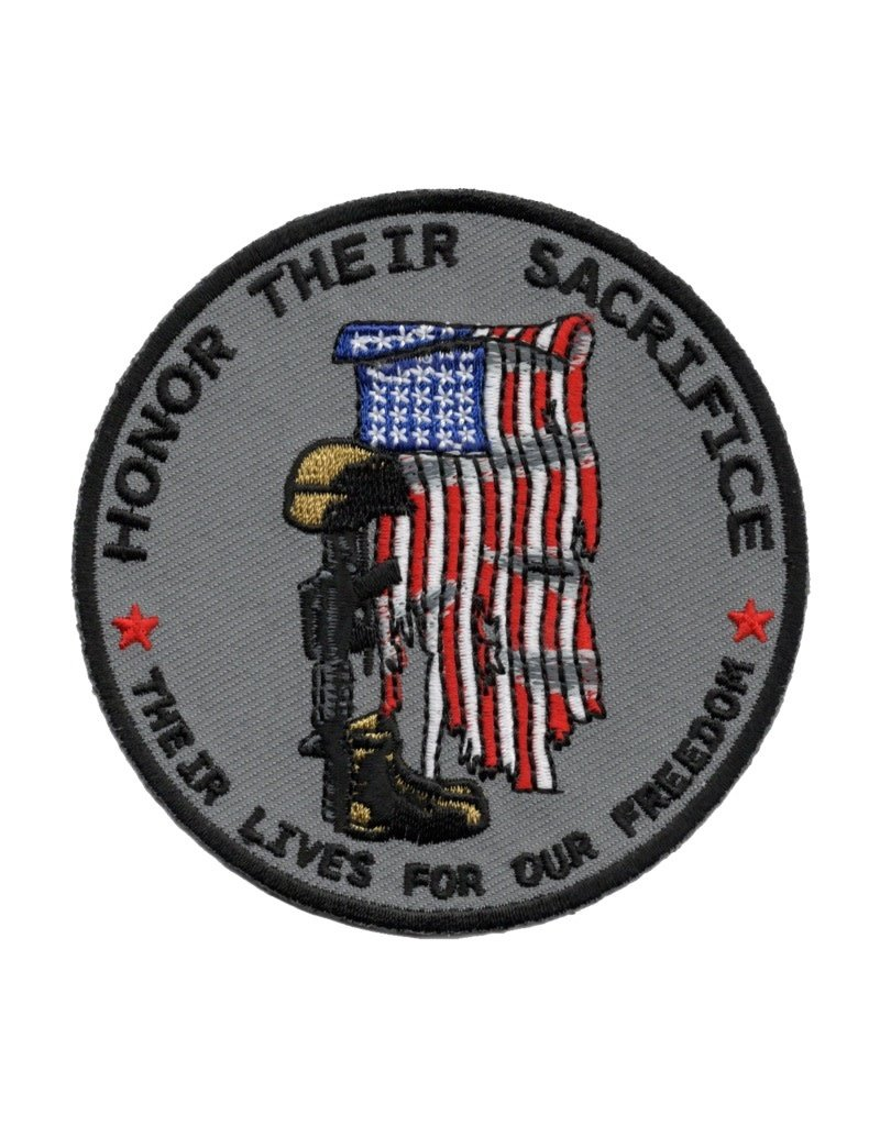 """MidMil Embroidered Honor Their Sacrifice  Patch with Tattered Flag, Soldiers Cross, and  """"Their Lives for Our Freedom"""" 3.5"""""""