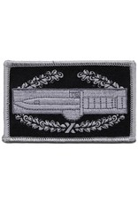 """MidMil Embroidered Subdued Combat Action Badge Emblem Patch 3.6"""" wide x 2.1"""" high Grey/Black"""