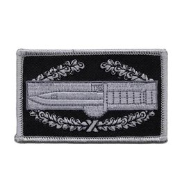 "MidMil Subdued Combat Action Badge Emblem Patch 3.6"" wide x 2.1"" high Grey/Black"