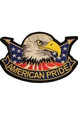 "MidMil Embroidered American Pride Patch with Eagle Head and Flags 4.4"" wide x 3"" high"