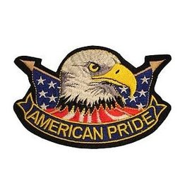 "MidMil American Pride Patch with Eagle Head and Flags 4.4"" wide x 3"" high"
