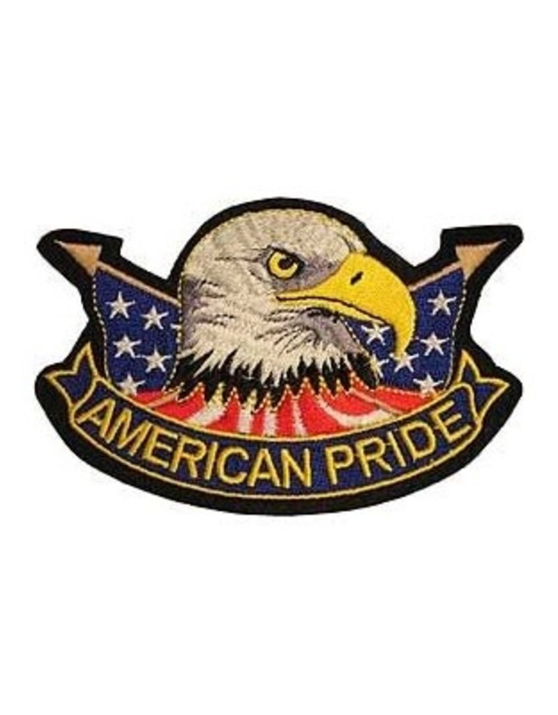 """MidMil Embroidered American Pride Patch with Eagle Head and Flags 4.4"""" wide x 3"""" high"""