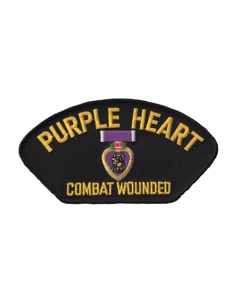 """MidMil Embroidered Purple Heart - Combat  Wounded Patch 5.2"""" wide x 2.9"""" high"""