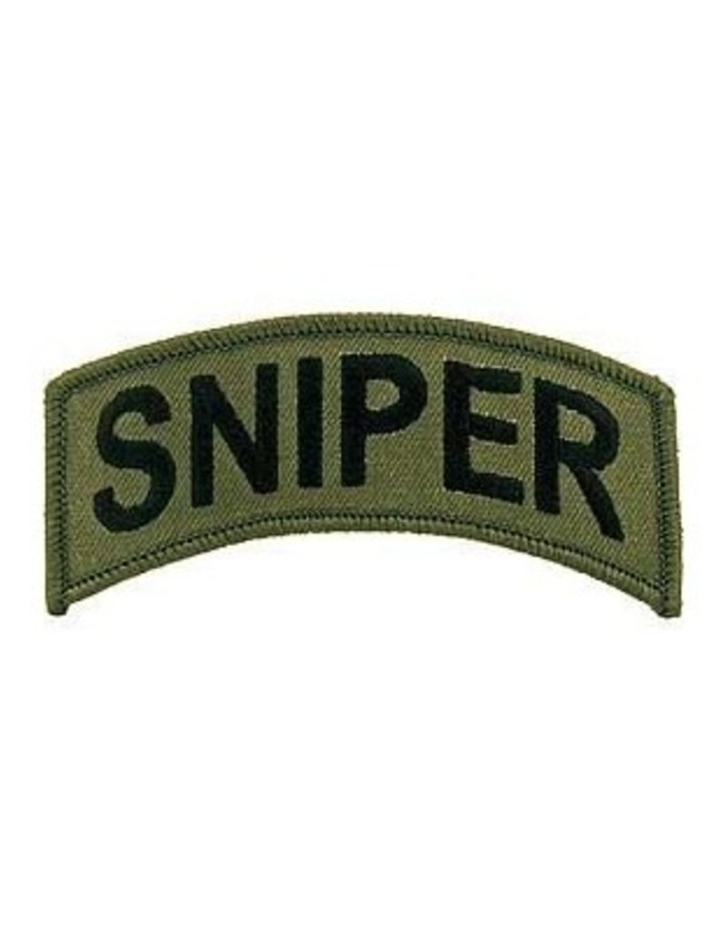 """MidMil Embroidered Sniper Tab Patch 4"""" wide x 1.9"""" high Olive Drab"""